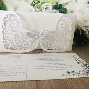 Esküvői meghívó, Esküvő, Meghívó & Kártya, Meghívó, Mindenmás, Papírművészet, Esküvői meghívó, kinyitható, szív alakú borítóval.\nGyöngyházfényű, igényes, vastag papírból készül, ..., Meska