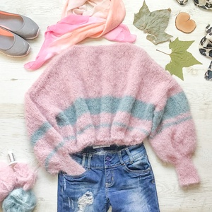 Shiny Cloud pulcsi ! Prémium minőség, Ruha, divat, cipő, Női ruha, Felsőrész, póló, Kötés, Egyedi darab | Kézzel készült  Kötött bő pulcsi bő ujjal, rövid derékkal csillogó szállal kötve. Na..., Meska