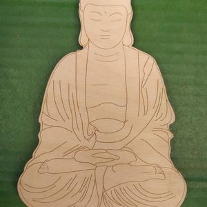Buddha Namaste joga , Otthon & Lakás, Dekoráció, Dísztárgy, Gravírozás, pirográfia, Buddha\nLézerrel vágott, gravírozott \n19 cm magas\n, Meska
