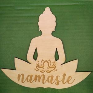 Buddha Lótusz Namaste meditáció , Otthon & Lakás, Dekoráció, Dísztárgy, Gravírozás, pirográfia, Buddha egyedi gravírozott.\n19 cm magas \n, Meska
