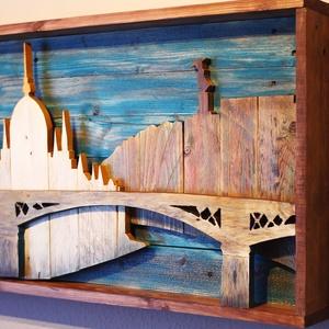Budapest Skyline Fából rendelésre is, Akril, Festmény, Művészet, Famegmunkálás, Újrahasznosított alapanyagból készült termékek, Fából készült kép, egyedi elképzelés alapján. Témája a  Parlament, a Gellért-hegy szabadság szoborra..., Meska