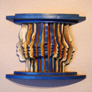 Tekintetek kékben, Otthon & lakás, Képzőművészet, Dekoráció, Kép, Famegmunkálás, Egyedi elképzelés alapján, újrahasznosított raklap fából készült fali dísz. Különféle arctípusok szi..., Meska