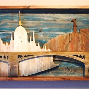 Budapest Skyline , Művészet, Más művészeti ág, Famegmunkálás, Festészet, Ez a fából készült kép, egy saját elképzelés alapján és rétegelt módon lett megalkotva. Témája a Par..., Meska