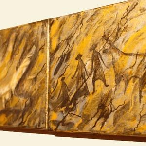 Barlangrajzok  akril festmény, Művészet, Festmény, Festmény vegyes technika, Festészet, Barlangrajzok: Mamutvadászat, kézlenyomat, ember és állatábrázolás, fa keretre erősített  festővászo..., Meska