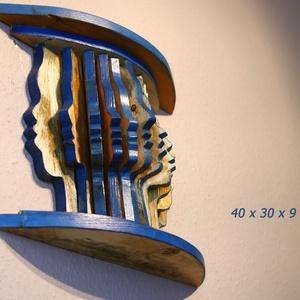 Tekintetek kéken, Művészet, Szobor, Fa, Famegmunkálás, Festészet, Egyedi termék saját elképzelés alapján, újrahasznosított fából készült fali dombormű. Különböző arct..., Meska