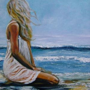 Nő a parton -akril festmény, Művészet, Festmény, Akril, Festészet, Mindenmás, Farost lemezen akril festékkel festve, ecsettel és festőkéssel.\nMérete: 40x40 cm\nEgy van belőle.\nAz ..., Meska