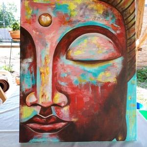 Buddha - festmény (színes), Képzőművészet, Otthon & lakás, Festmény, Akril, Festészet, Feszített, kiváló minőségű vászonra akril festékkel készült Buddha festmény.\nMérete: 50x70 cm\nSzínei..., Meska