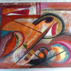 Absztrakt num.1 by Andi, Képzőművészet, Otthon & lakás, Festmény, Akril, Festészet, Feszített, kiváló minőségű vászonra művész akril festékkel készült absztrakt festmény.\nMérete: 70x50..., Meska