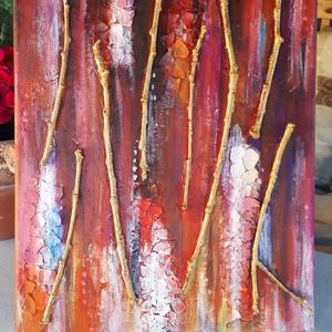 Asztrakt Num 3. - akril  festmény-faágakkal, Művészet, Festmény, Akril, Festészet, Mindenmás, Vászonkép akril festékkel festve.\nA képen faágak és tojáshéj adják a struktúrákat.\nMérete: 30x40 cm\n..., Meska
