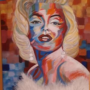 Marilyn 1. , Akril, Festmény, Művészet, Festészet, Marilyn Monroe spontanrealista stílusban megfestve, feszített vásznon, művész akril festékkel.\nMéret..., Meska