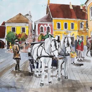 lovas Szentendre akvarell, Otthon & lakás, Képzőművészet, Festmény, Akvarell, Grafika, Festészet, Fotó, grafika, rajz, illusztráció, Az eredeti akvarell festményemről készült kiváló minőségű számozott művészi nyomat. Hordozó: A/4-es,..., Meska