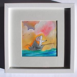"""Egérke, Horgászat, Halfogás, Papírhajó, , Otthon & Lakás, Festészet, Fotó, grafika, rajz, illusztráció, \""""Vajon kinek fogja a halat a kisegér?\"""" című grafikámat, A/4-es kiváló canson savmentes akvarell papí..., Meska"""