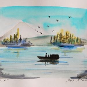 Akvarell festmény, a vízen, horgászat, halászat,festmény, Művészet, Festmény, Akvarell, Festészet, Fotó, grafika, rajz, illusztráció, Nem Print! Eredeti akvarell festményem, a halászokat ábrázolja. A festmény A/4-es, 200g/m2 kíváló mi..., Meska
