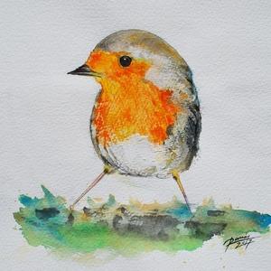 Vörösbegy, madárka, művészi nyomat, Otthon & Lakás, Lakberendezés, Festészet, Fotó, grafika, rajz, illusztráció,  Kedves állatos dekoráció babaszobába, gyerekszobába.\n \nEzt az akvarell festményem , A/4-es kiváló m..., Meska