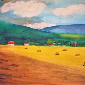 Hazám, Otthon & Lakás, Festészet, Fotó, grafika, rajz, illusztráció, Az eredeti akvarell festményemről készült művészi nyomat, kiváló minőségű A/4-es méretű, canson stru..., Meska