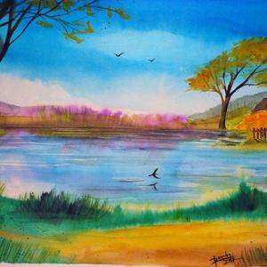 tóparti házikó, Akvarell, Festmény, Művészet, Fotó, grafika, rajz, illusztráció, Festészet, Eredeti szignózott akvarell képem, A/4 -es 200g/m2 papíron. Szállítás: bélelt borítékban, kartonnal ..., Meska