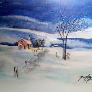 EREDETI festmény, DECEMBER, téli táj, nem print!, Otthon & Lakás, Festészet, Gyertya-, mécseskészítés, Az eredeti akvarell festményem A/4-es méretű.Magas minőségű canson strukturált, savmentes akvarellpa..., Meska