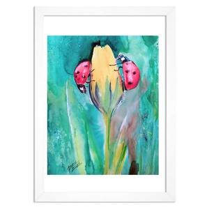 """KATICA,  EREDETI akvarell festmény, természet, virág, katicabogár, Akvarell, Festmény, Művészet, Fotó, grafika, rajz, illusztráció, Festészet, Ezzel a festményemmel szeretném a természet szépségét közvetíteni kicsiknek és nagyoknak egyaránt.\n\""""..., Meska"""
