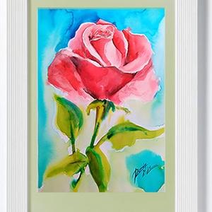 """EREDETI akvarell festmény, természet, virág, rózsa, Akvarell, Festmény, Művészet, Fotó, grafika, rajz, illusztráció, Festészet, \""""A rózsa a szépség netovábbja.\""""\nAlice Hoffman\n\n Kiváló canson minőségű akvarell papírra készült. Az ..., Meska"""