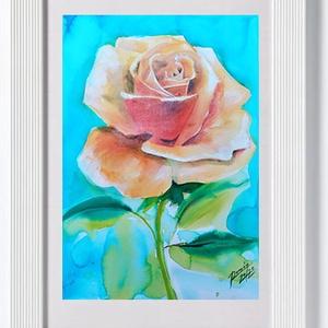 """EREDETI akvarell festmény, természet, virág, rózsa, Otthon & lakás, Dekoráció, Képzőművészet, Grafika, Fotó, grafika, rajz, illusztráció, Festészet, Egy rózsaszál, ami maradandó ajándék.\n\""""Az idő, amit a rózsádra vesztegettél: az teszi olyan fontossá..., Meska"""