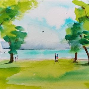 Csodálatos Balaton, EREDETI akvarell képeslap, képecske, Otthon & lakás, Dekoráció, Képzőművészet, Festmény, Akvarell, Fotó, grafika, rajz, illusztráció, A Balaton parti hangulatot sugárzó, EREDETI festett képeslap. Keretezve, képecskének is jól mutat. H..., Meska