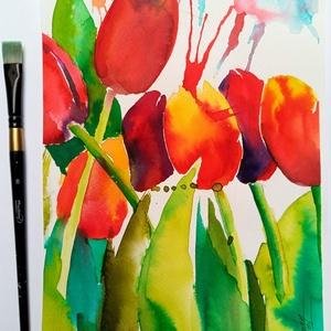 EREDETI akvarell festmény, Tulipánok, tulipán, virág, ajándék, Otthon & lakás, Dekoráció, Ünnepi dekoráció, Lakberendezés, Festészet, Fotó, grafika, rajz, illusztráció,  Eredeti keretezett akvarell, élénk piros tulipános festményem, 18*24cm-es üvegezett, polcra is állí..., Meska
