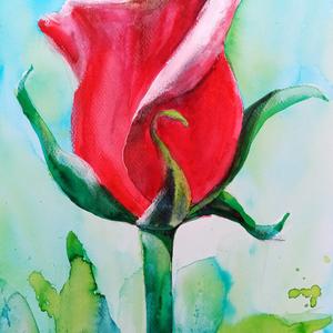 """EREDETI akvarell festmény, természet, virág, rózsa, vörös rózsa, Otthon & lakás, Dekoráció, Képzőművészet, Grafika, Fotó, grafika, rajz, illusztráció, Festészet, \""""A rózsa a szépség netovábbja.\""""\nAlice Hoffman\n\n Kiváló canson minőségű akvarell papírra készült. Az ..., Meska"""