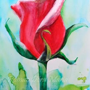 """EREDETI akvarell festmény, természet, virág, rózsa, vörös rózsa, Akvarell, Festmény, Művészet, Fotó, grafika, rajz, illusztráció, Festészet, \""""A rózsa a szépség netovábbja.\""""\nAlice Hoffman\nMaradandó virág, kedves ajándék ünnepi alkalomra.\nKivá..., Meska"""