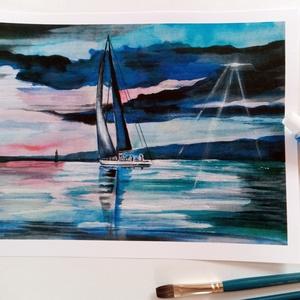 """Balaton, balatoni akvarell, Vitorlás, Vitorlázás, kékszalag, Akvarell, Festmény, Művészet, Festészet, Fotó, grafika, rajz, illusztráció,  EREDETI akvarell festményemet szeretettel ajánlom minden Balaton rajongónak. \nA festmény címe: \""""Kék..., Meska"""