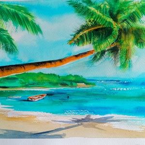 Tengerpart, Óceán, Nyaralás, Akvarell, Festmény, Művészet, Festészet, Gyertya-, mécseskészítés, Az eredeti akvarell festményem 30*20cm-es méretű.Magas minőségű 230g/m2 canson strukturált, savmente..., Meska