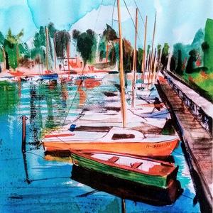 """Balatoni Kikötő, balatoni akvarell, Emlék, Romantika, Csend a vízen, Vitorlás, Vitorlázás, Művészet, Festmény, Akvarell, Festészet, Fotó, grafika, rajz, illusztráció,  \""""Balatoni kikötő\"""" című akvarell festményemet szeretettel ajánlom minden Balaton rajongónak, vitorlá..., Meska"""