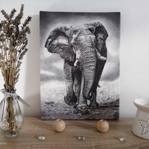 Elefánt vászonkép (fa keretre feszítve), Művészet, Művészi nyomat, Fotó, grafika, rajz, illusztráció, Eredeti grafit rajzom alapján készült, minőségi vászonra nyomtatott kép, fa keretre feszítve.\nRajzai..., Meska