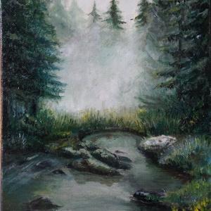 Misztikus erdő, Művészet, Festmény, Olajfestmény, Festészet, Az képet olajfestékkel,  kasírozott vászonra készítettem. 17,5x24cm\nKépkeret nélkül (referencia fotó..., Meska