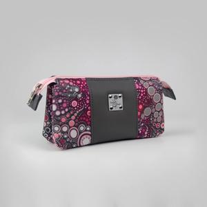 Szürke-rózsaszín bubi mintás női pénztárca, Táska & Tok, Pénztárca & Más tok, Pénztárca, Varrás, \nA pénztárca szürke textilbőr és bubi mintás pamutvászon kombinációjából készült. 14db kártyatartó t..., Meska