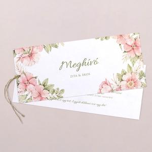 Minimál PEACH FLOWER esküvői meghívó, Esküvő, Meghívó & Kártya, Meghívó, Fotó, grafika, rajz, illusztráció, Mindenmás, MINIMÁL PEACH FLOWER ESKÜVŐI MEGHÍVÓ (LA4 méret) \n\nA meghívó 2 db kétoldalt nyomtatott lapból áll, m..., Meska