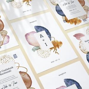 ABSTRACT esküvői meghívó, Esküvő, Papírművészet, Fotó, grafika, rajz, illusztráció, ABSTRACT ESKÜVŐI MEGHÍVÓ (A6 méret) \n\nA meghívó 1 db kétoldalt nyomtatott lapból áll + tervezési díj..., Meska