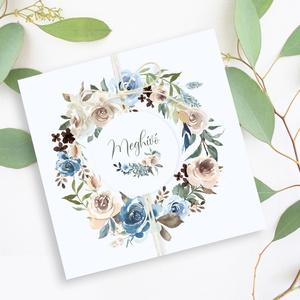 BLUE-BEIGE FLOWERS esküvői meghívó, Esküvő, Meghívó & Kártya, Meghívó, Fotó, grafika, rajz, illusztráció, Papírművészet, BLUE-BEIGE FLOWERS ESKÜVŐI MEGHÍVÓ (150x150 mm méret) \n\nA meghívó 1 db összehajtott lapból áll, madz..., Meska