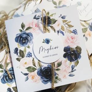 PEACH - BLUE esküvői meghívó, Esküvő, Meghívó & Kártya, Meghívó, Fotó, grafika, rajz, illusztráció, Papírművészet, PEACH - BLUE ESKÜVŐI MEGHÍVÓ (150x150 mm méret) \n\nA meghívó 1 db összehajtott lapból áll, natúr madz..., Meska