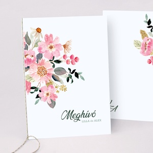 PINK FLOWER esküvői meghívó, Esküvő, Meghívó & Kártya, Meghívó, Fotó, grafika, rajz, illusztráció, Papírművészet, PINK FLOWER ESKÜVŐI MEGHÍVÓ (A6 méret) \n\nA meghívó 2 db lapból áll, madzaggal átkötve + tervezési dí..., Meska