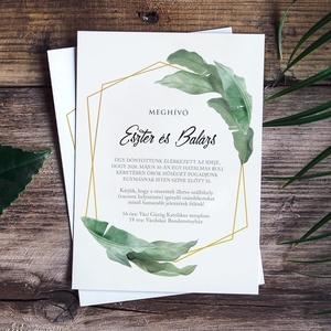 GREENERY esküvői meghívó, Esküvő, Papírművészet, Fotó, grafika, rajz, illusztráció, GREENERY ESKÜVŐI MEGHÍVÓ (A5 méret, 148x210 mm) \n\nA meghívó 1 db egy oldalon nyomtatott lapból áll +..., Meska