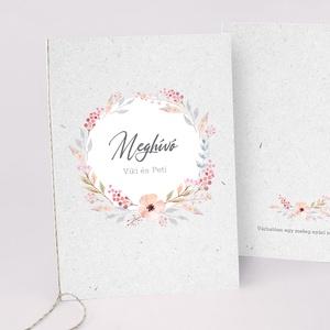 PEACH esküvői meghívó, Esküvő, Meghívó & Kártya, Meghívó, Fotó, grafika, rajz, illusztráció, Papírművészet, PEACH ESKÜVŐI MEGHÍVÓ (A6 méret) \n\nA meghívó 2 db lapból áll, madzaggal átkötve + tervezési díj NINC..., Meska