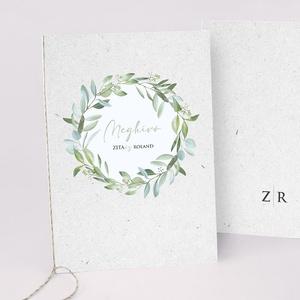 GREENERY esküvői meghívó, Esküvő, Meghívó & Kártya, Meghívó, Fotó, grafika, rajz, illusztráció, Papírművészet, GREENERY ESKÜVŐI MEGHÍVÓ (A6 méret) \n\nA meghívó 2 db lapból áll, madzaggal átkötve + tervezési díj N..., Meska