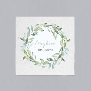 GREENERY esküvői meghívó, Esküvő, Meghívó & Kártya, Meghívó, Fotó, grafika, rajz, illusztráció, Papírművészet, GREENERY ESKÜVŐI MEGHÍVÓ (mérete: 150x150 mm összehajtva) \n\nA meghívó 1 db összehajtott lapból áll +..., Meska