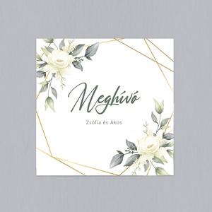 GREENERY WHITE FLOWER esküvői meghívó - Meska.hu