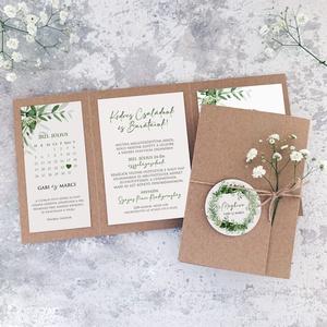 GREENERY esküvői meghívó, Esküvő, Meghívó & Kártya, Meghívó, Fotó, grafika, rajz, illusztráció, Papírművészet, GREENERY MEGHÍVÓ (mérete: 130x180 mm összehajtva) \n\nA meghívó 2-féle papír kombinációja natúr madzag..., Meska