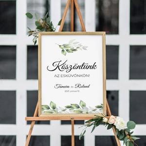 GREENERY tábla (welcome board), Esküvő, Meghívó & Kártya, Menü, Papírművészet, Fotó, grafika, rajz, illusztráció, Meska