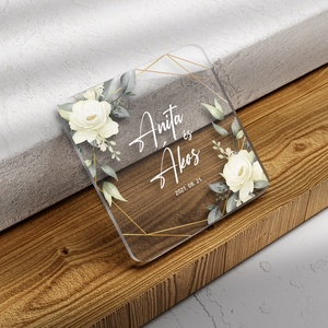 GREENERY WHITE FLOWER poháralátét (plexi / akril) - Meska.hu