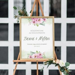 PINK FLOWER tábla (welcome board), Esküvő, Meghívó & Kártya, Menü, Papírművészet, Fotó, grafika, rajz, illusztráció, PINK FLOWER tábla (welcome board)\n\nEgyoldalt nyomtatott vastagabb papír vagy 3 mm vastag tábla + ter..., Meska