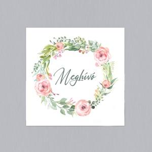 PEACH FLOWER esküvői meghívó, Esküvő, Meghívó & Kártya, Meghívó, Fotó, grafika, rajz, illusztráció, Papírművészet, PEACH FLOWER ESKÜVŐI MEGHÍVÓ (mérete: 150x150 mm összehajtva) \n\nA meghívó 1 db összehajtott lapból á..., Meska