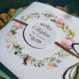 PINK HORTENZIA esküvői meghívó, Esküvő, Meghívó & Kártya, Meghívó, Fotó, grafika, rajz, illusztráció, Papírművészet, PASTEL FLOWERS ESKÜVŐI MEGHÍVÓ (mérete: 150x150 mm összehajtva) \n\nA meghívó 1 db összehajtott lapból..., Meska